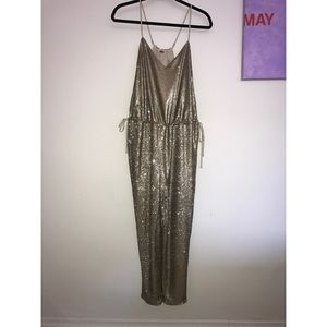Free People Champagne Sequin Jumpsuit Size S
